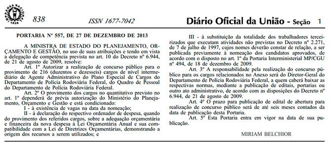 DOU Concurso PRF 2014