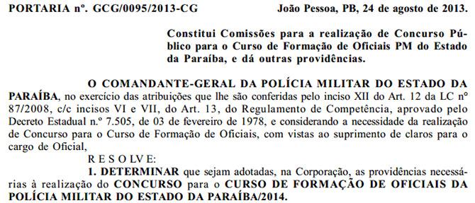 Polícia Militar da Paraíba prepara concurso