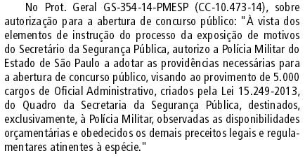 Concurso Oficial Administrativo PMESP