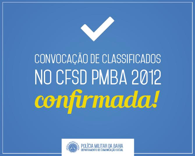 Candidatos Classificados CFSd PMBA 2012