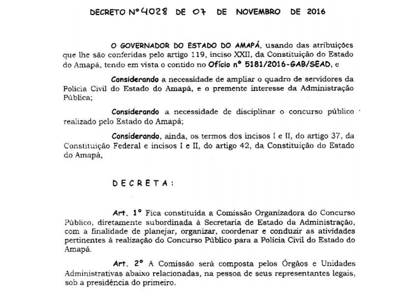 Concurso da Polícia Civil do Amapá