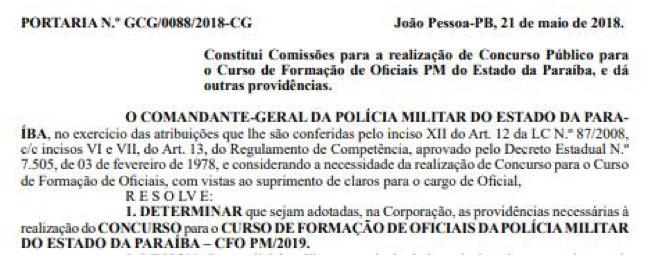 Concurso CFO PM-PB